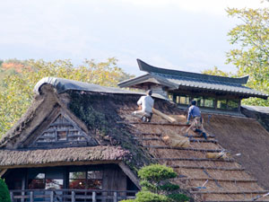 茅葺屋根の解体工事