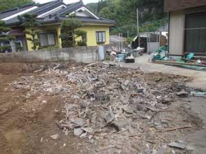 木造小屋解体工事:解体後1